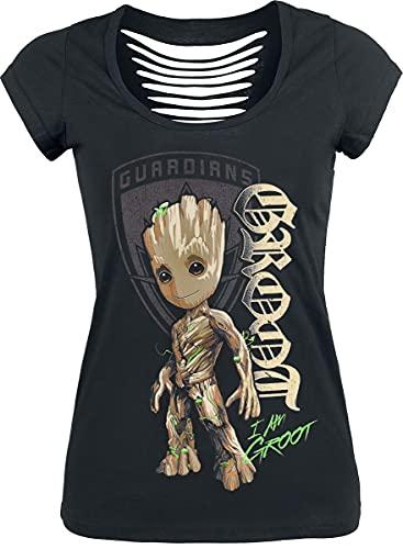 Guardianes De La Galaxia 2 - Groot Mujer Camiseta Negro L, 100% algodón, Cut-Outs Regular