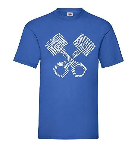 Fingerabdruck Motorkolben Männer T-Shirt Royal Blau 3XL - shirt84.de