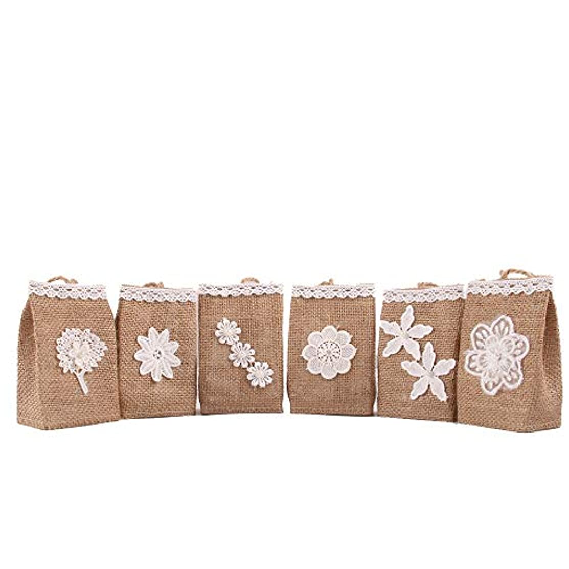 Junxia Natural Burlap Gift Bags for Wedding Party Decoration 6 Packs(Multi-Flowers)