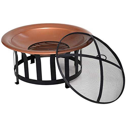 Buy Cheap Patio Round Fire Pit Bowl Outdoor Camping Elevate Firepit Metal Black Protective Mesh Lid ...