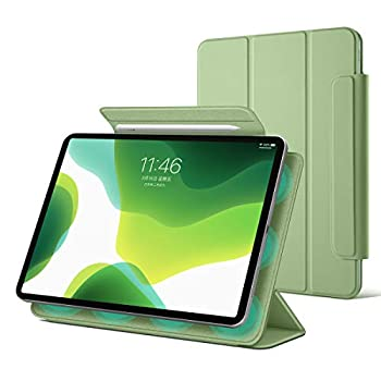SENSHENG 2020 iPad Air 4th 10.9 / iPad Pro 11  2018 Trifold Magnetic Case,Convenient Magnetic Attachment Frameless Stand Cover Supports Apple Pencil 2nd Pairing & Charging,Auto Sleep/Wake  Matcha