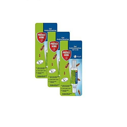 PROTECT HOME Gel Anticucarachas, Cebo de accion inmediata, eficacia Total, 1 jeringuilla Anti cucarachas, Azul, 10 Gramos