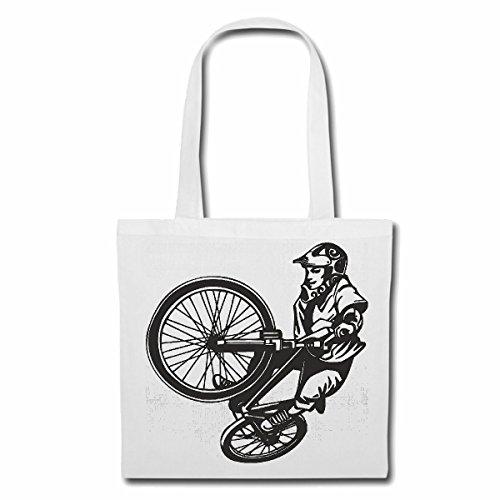Tasche Umhängetasche BMX Street Freestyle Bicycle Motocross BONANZARAD Fahrrad Freestyle Mountainbike Einkaufstasche Schulbeutel Turnbeutel in Weiß