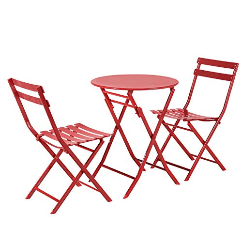 Hmcozy Grand patio Premium Steel Patio Bistro Set, Folding Outdoor Patio Furniture Sets, 3 Piece Patio Set of Foldable Patio Table and Chairs,9