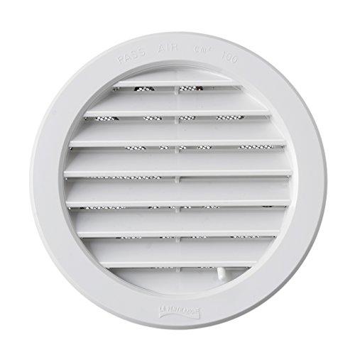 La Ventilazione T12DRB Griglia di Ventilazione in Plastica Tonda da Incasso, Bianco, diametro 150 mm