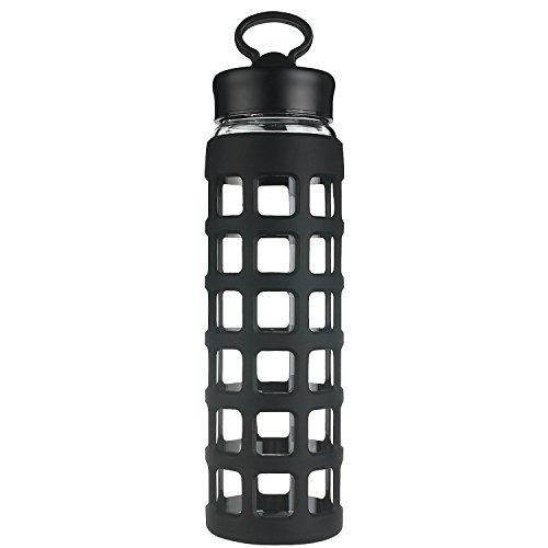 shbrifa Sport Borosilikatglas Wasser Flasche mit Silikon Sleeve 700ml ml schwarz