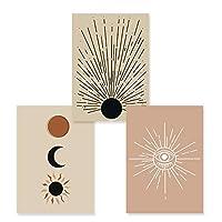 トレンディな太陽と月自由奔放に生きる抽象的な風景壁アートキャンバスポスター絵画リビングルームの家の装飾のための印刷写真-(40x60cm)x2pcsフレームレス
