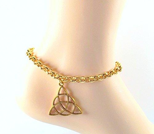 Celtic Knot Anklet - Irish Gaelic Gold Vermeil Ankle Bracelet All Sizes