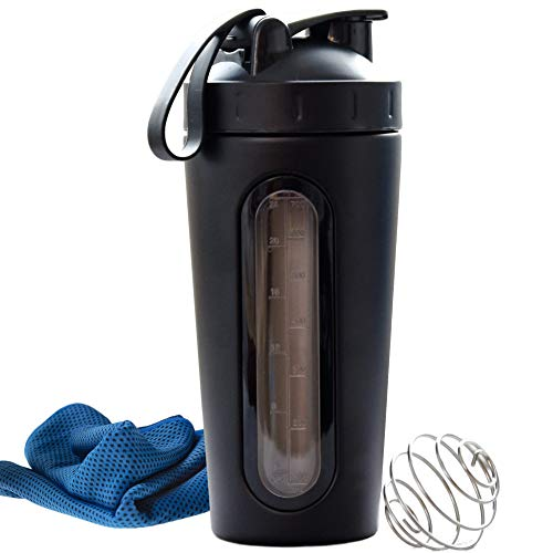 ANKHTIVE Stainless Steel Protein Shaker Bottle, Clear Window, Metal Mixing Ball, Leak Proof, Bundle with Cooling Towel (Black)