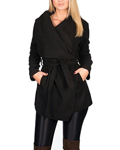 Kendindza Damen Mantel Trenchcoat mit Gürtel OneSize Lang und Kurz (OneSize, Schwarz Kurz)