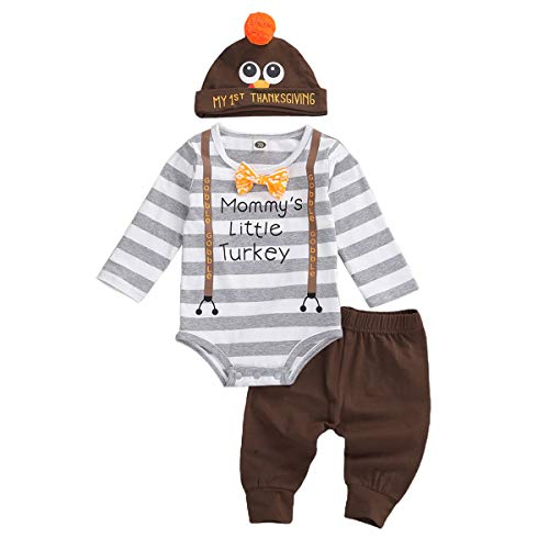 3Pcs Infant Newborn Baby Girls Boy Thanksgiving Christmas Romper Tops+Pants+Hat Clothes Outfit Sets (A-Thanksgiving, 6-9 Months)