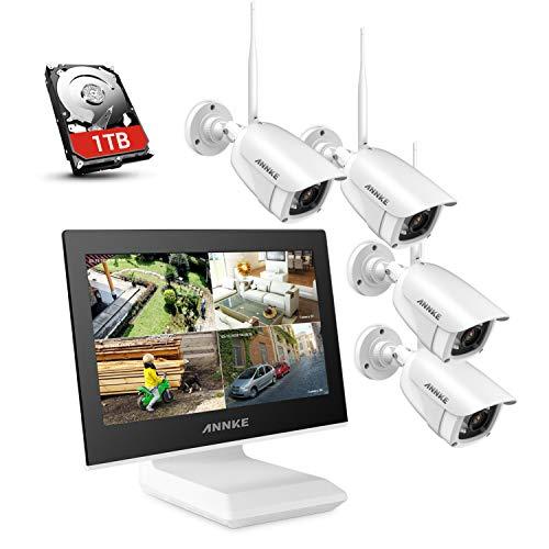 ANNKE Überwachungskamera Set mit Monitor 4CH 10.1 Zoll 5MP Funk NVR und 4 x 1080P WLAN IP Kamera Vorinstalliert 1TB Festplatte Videoüberwachungssystem für Innen Außen