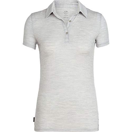 Icebreaker Tech Lite Polo Manches Courtes Femme, Blizzard Heather Modèle M 2020 T-Shirt Manches Courtes
