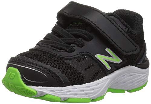 New Balance Boys' 680v5 Hook and Loop Running Shoe, Black/RBG Green, 8 W US Toddler