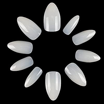 ECBASKET 500 PCS Stiletto False Nails Natural Short Acrylic Nail Tips