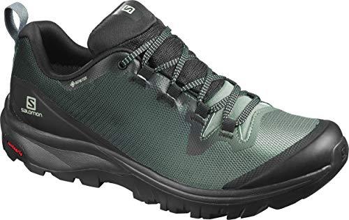 Salomon Women's Hiking Shoe, Black/balsam Green/Black,7.5 M US