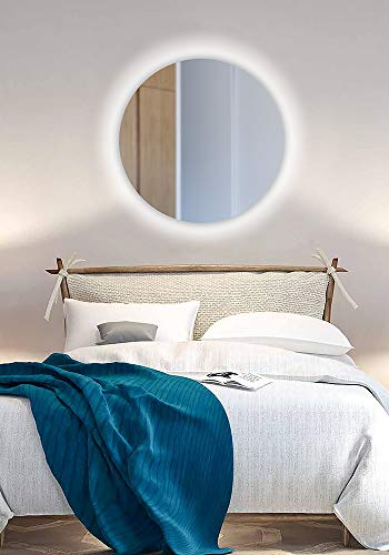 Espejo Redondo Pared Pared con iluminación LED (Ø600cm) baño o para Cualquier Otra Parte de la casa ,Luz cálida. 4000k. Espejos sin Marco
