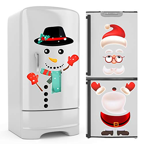 HOWAF Weihnachten Kühlschrank Dekorationen 2 Blatt Weihnachten Weihnachtsmann Schneemann Kühlschrankaufkleber Kühlschrank Magnet für Küche Weihnachten Dekorationen