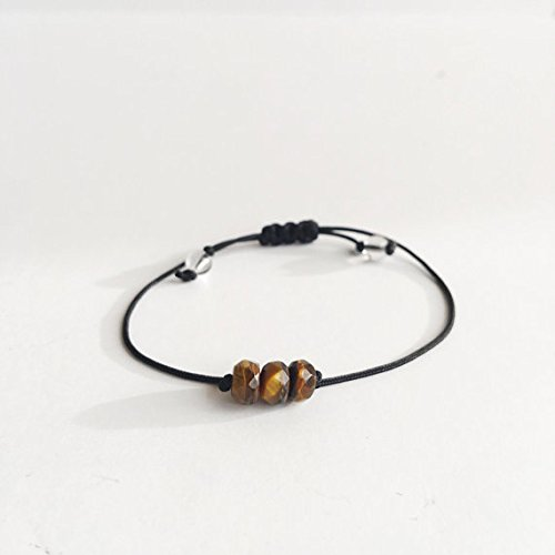 LOVEKUSH Galaxy Jewelry 3-6mm Adjustable Multi Tiger Eye Bracelet Rondelle, Faceted 7' for Mens, Womens, gf, bf & Adult.