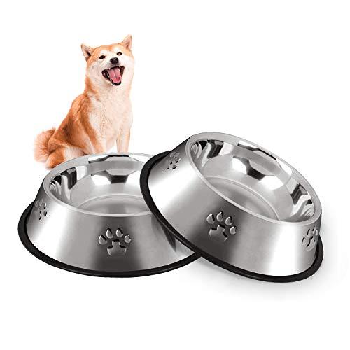 Hotype Comedero para Perro de Acero Inoxidable, Cuenco De Comida para Mascotas, Comedero y Bebedero Perro Antideslizante, para Perro Pequeñas y Medianas, 2 Unidades, 22cm
