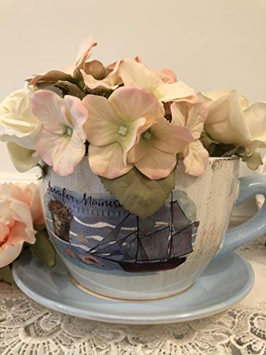 "Cute Teacup Shaped sea Blue"" Planter, Shabby Chic,Decorative Ceramic Showpiece with Nautical Design"