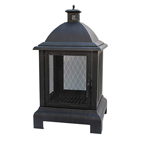 Gardenesque Lightweight Steel Fire Pit with Chimney & Grate, W62 x H112 cm
