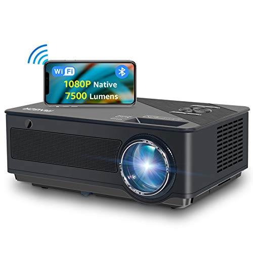 Projector, FANGOR HD WiFi Projector 1080P Native, Updated 7500 Lux/250'' Display/ 8000:1 Contrast, Smart Home Cinema Bluetooth Projector Support Wireless screen mirroring on iPhone/iPad/Android Phones