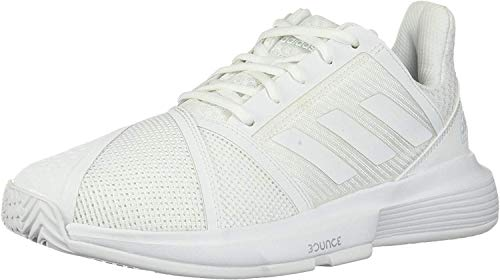 adidas Women's CourtJam Bounce Tennis Shoe, White/White/Matte Silver, 11.5 M US