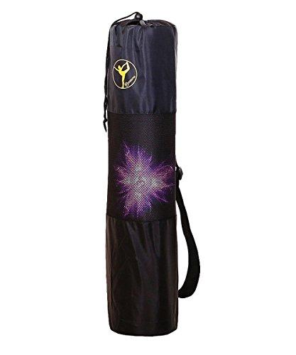 Piasana – Yogatasche aus Nylon in schwarz mit Netzbereich zur Lüftung und Lagerung, anpassbarer Schultergurt, für Yogamatten bis 61cm Breite