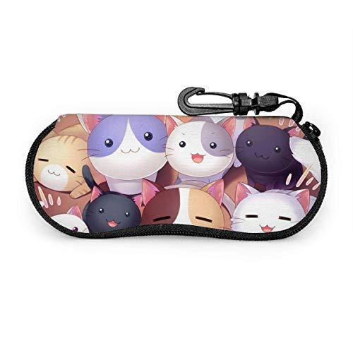 Sonnenbrillen Anime Cat Eyeglass Case Guard Set Tragbarer Reisereißverschluss Soft Neopren Glasses Bag Case