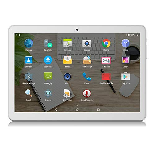 Android Tablet 10 inch, Google Certified, Phablet Unlocked 3G/WiFi Tablet PC with Sim Card Slots and Micro SD Card Slots, 16GB, Bluetooth, GPS, FM, Netflix, YouTube - Silver