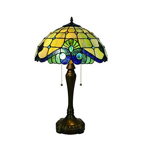 Tokira Tiffany Lámpara de Mesa estilo Barroco para Sala de Estar, Vidrieras Minimalistas Amarillas de 16' Ligero Vintage Hechas a Mano, Base de Aleación, Bombilla LED Gratis