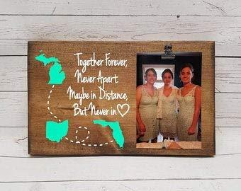 Not Branded Bilderrahmen mit großer Distanz und 3 Staaten Geschenk für Freundin, Schwester, Holz-Fototafel, Bildclip, Together Forever Never Apart, 17,8 x 30,5 cm