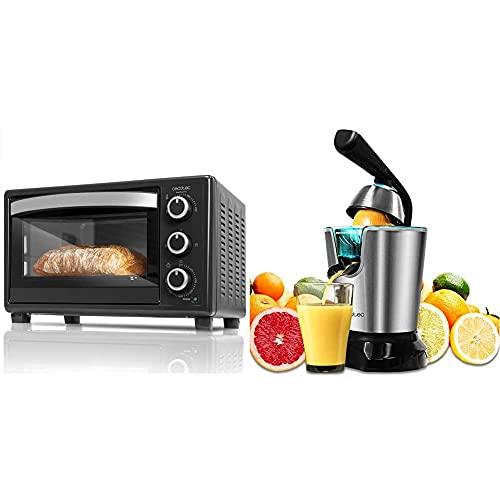 Cecotec Horno Sobremesa Bake&Toast 550. 1500 W, Capacidad de 23 Litros + Exprimidor Naranjas Eléctrico Zitrus PowerAdjust 600 Black. 600W, Filtro Regulador de Pulpa, Filtro de Acero INOX