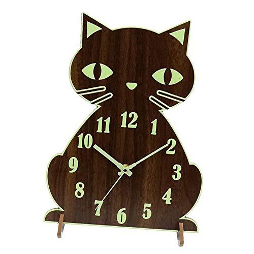 H HILABEE Reloj de Pared Luminoso Reloj de Gato Silencioso Que No Hace Tictac Funciona con Pilas para Dormitorio