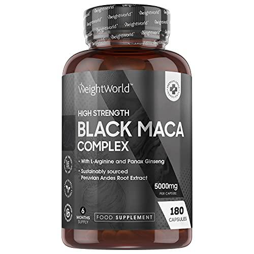 Maca Noire Ginseng Extra Fort 5000mg - Black Maca Root – 180 Gélules Vegan (6 Mois) Haute Absorption avec du Panax Ginseng, Maca du Pérou, L Arginine, Zinc – Issue de Ressources Durables