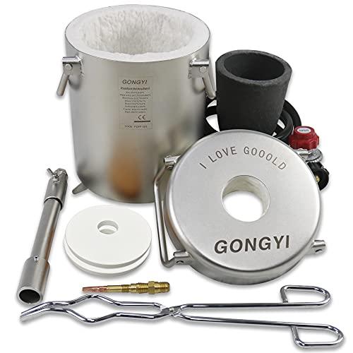 GONGYI 6 kg (28 lbs) Kit de horno de fusión de gas propano de acero inoxidable hasta 2700 ° F para metal reciclado, fundición de cobre y aluminio, joyas de cristal, incluye crisol y pinzas para crisol