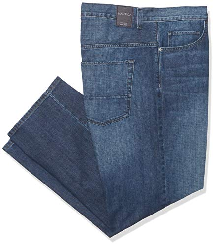 Nautica Men's Big and Tall 5 Pocket Relaxed Fit Stretch Jean, Glacier Blue Wash, 44W 34L