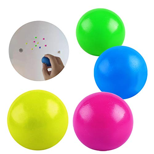 4pcs Sticky Balls, Stress Relief Sticky Target Balls, Stick to The Wall and Slowly Fall Off, Perfect for Kids and Adults - Squishy Relief Toys for Anxiety, ADHD, Autism and More