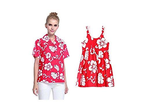 Conjunto de Luau hawaiano a juego con la hija de la madre Señora Camisa Vestido de niña PW Rojo Hibisco 3XL-8
