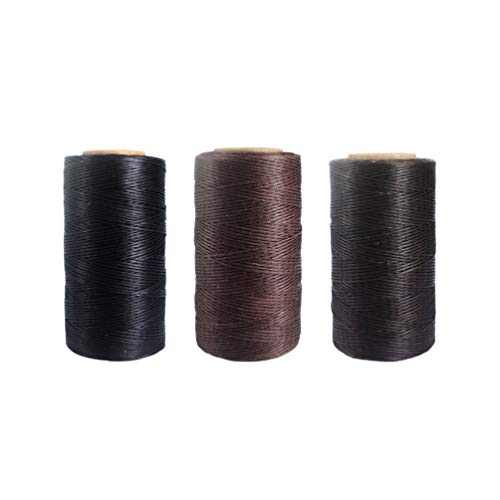 3 Rolls of 80 Meters Waxed Thread Cotton Cord String for Leather Craft 1.5mm