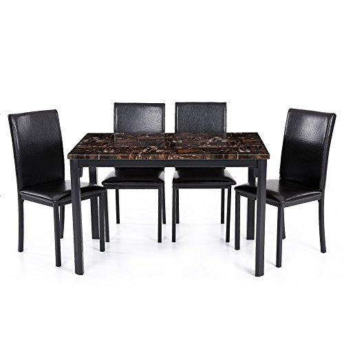 IKAYAA Set Tavolo Sedia Cucina Moderna Sala da Pranzo Tavolo Sedia Set per Persona al Marmo Top 5PCS