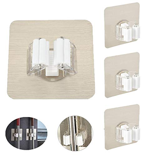 Mop Scopa Holder Organizer, Portascope Mop Supporto (senza perforazione) Montato Titolare Montaggio a parete Scopa Ganci Muro, rimovibile con clip riutilizzabile, per cucina/bagno/garage (4 Pack)