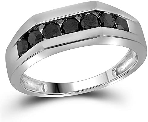 Sonia Jewels Size 13 10k White Gold Mens Round Black Diamond Band Wedding Anniversary Ring 1 product image