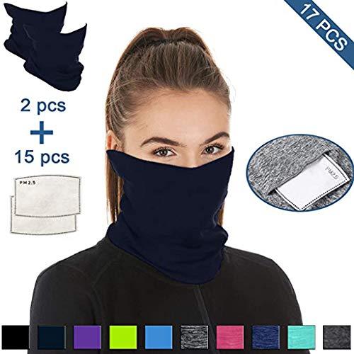 Lomelomme 2 Stück Face Shields Halstuch Multifunktionstuch Baumwolle Mundschutz Schlauchtuch Bandana mit 15 Stück Baumwolle Filter Damen und Herren (Light Blue, 38X24cm)
