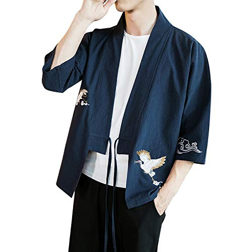 ZODOF camisa hombre Cárdigan camisa estampada lino seda Suelto Chaqueta Capa Baggy Tops Summer camisas manga larga hombre Moda para hombre(L,Armada)