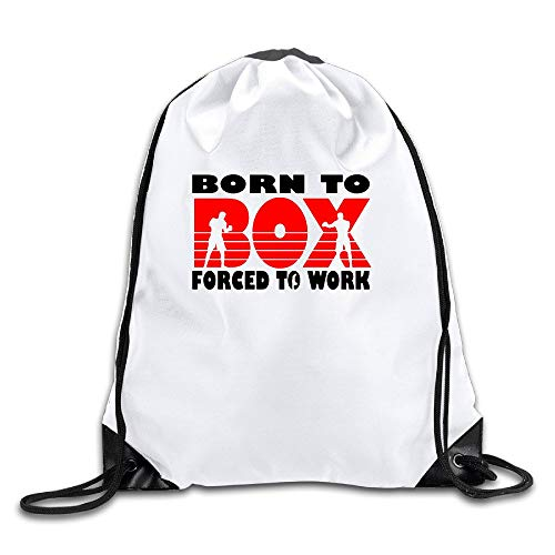 uykjuykj Coulisse Sacchetto,Zaino Coulisse Sacchetto, Born To Box Forced To Work Cool Drawstring Backpack Drawstring Bag Lightweight Unique 17x14 in