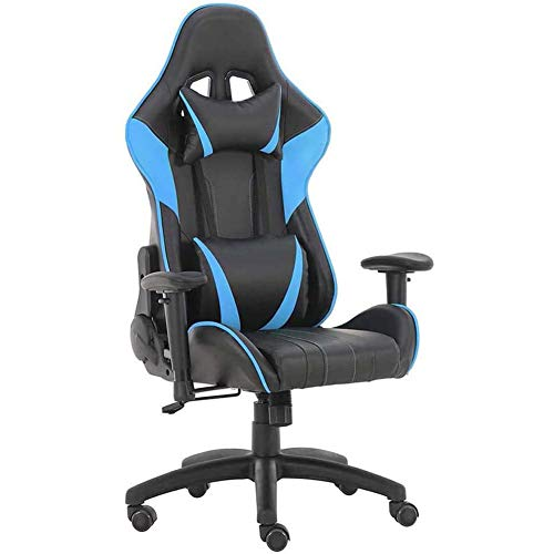 CJLMN Gaming Chair Video Gaming Chair Ergonomic Computer Desk Chair High Back Racing Style Comfortable Chair Swivel Executive PU Leather Chair with Lumbar Support and Headrest (Sky Blue)