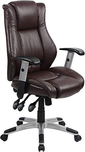 Office Chair Ergonomic Desk Chair PU Leather Computer Chair with Lumbar Support Armrest Rolling Executive Chair Task Adjustable Swivel Chair for Women Adults, Brown