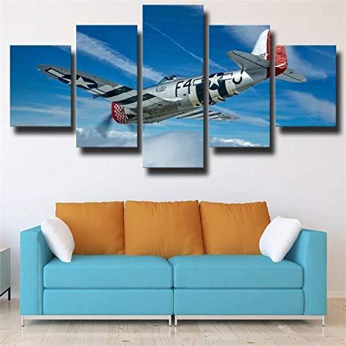 TOPRUN Cuadro Moderno En Lienzo 5 Piezas XXL Caza Bombardero República P-47 Thunderbolt HD Abstracta Pared Imágenes Modulares Sala De Estar Dormitorios Decoración para El Hogar 150X80Cm